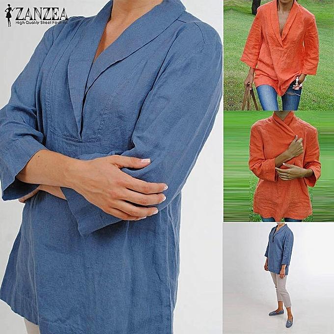 9d7a4bd59c7 ... US Womens Plus Size Lapel V Neck Stylish Loose Cotton Solid Blouse T-shirt  Tops
