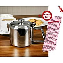 Stainless Steel Teapot; Metal Teapot - 3 Cup Teapot; Cafe Teapot; Diner Teapot - 20oz / 600ml (+ Free Gift Hand Towel).