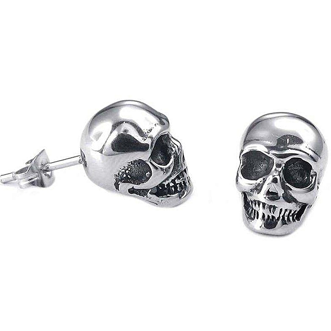 Jewelry Earrings Men Gothic Skull Ear Studs Stainless Steel For Color