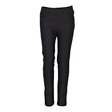 Girls Black Fitting Cotton Stretch Pants