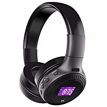 B19 Wireless Bluetooth Headphone Stereo Bass Earphone FM Radio TF Card MP3 Player With Microphone LCD Screen - Black