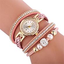Fohting Beautiful Fashion Bracelet Watch Ladies Watch  Round Bracelet Watch -Pink