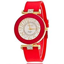 New Fashion Silicone Bling Crystal Quartz Watch Women & Girls(Red)