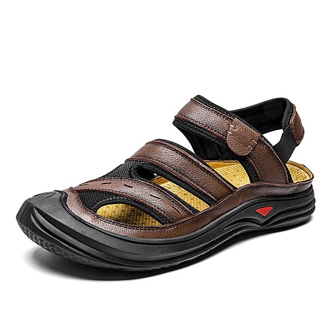 70d70a28b SocNoDn Men Fashion Summer Casual Beach Sandals Shoes Dark Brown ...