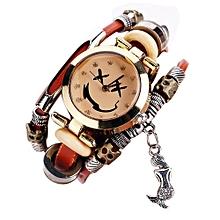 Olivaren CCQ Brand Vintage Cow Leather Bracelet Watch Men Women Wristwatch Quartz Brown