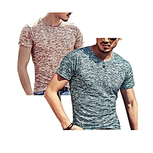 Pack of  2  Men's Cotton Casual Short Sleeve T-shirt Brown&Dark green