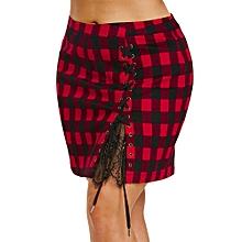 High Waist Tartan Skirt - Black+Red