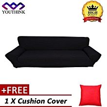 [Buy 1 Get 1 Free Cushion Cover] Solid Color Sofa Loveseat & Chair Spandex Cover Sofa Slipcover Couch Cover Black