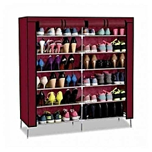 36 Pairs Portable Shoe Rack - Wine Red