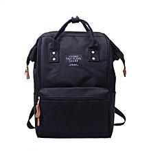 Unisex Solid Backpack School Travel Bag Double Shoulder Bag Zipper Bag BK