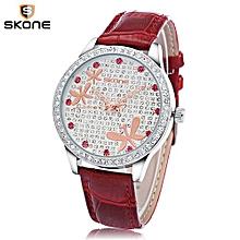 Women Shiny Butterfly Artificial Wristwatch - Red