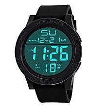 Fashionable Waterproof Male's Boy LCD Digital Stopwatch Date Rubber Sport Wrist Watch-Black