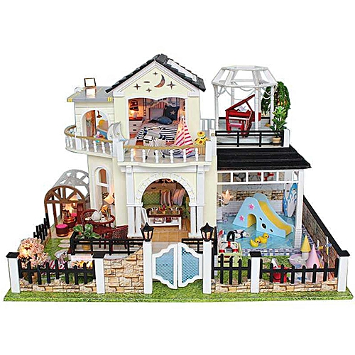 Buy Generic Diy Wooden Doll House Villa Miniatures Led Furniture Kit