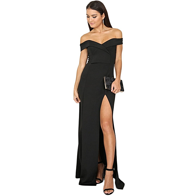 938bf6643173 TB Sexy Women Long Dress Strapless Off Shoulder High Slit Party Gown black