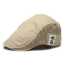 Men Retro Embroidery Cotton Beret Cap Women Casual Forward Peaked Hats