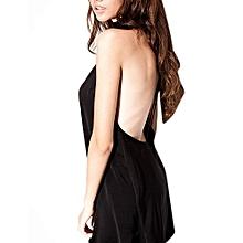 Female Backless V-neck Pajamas Thin Shoulder Straps Mini Nightdress For Summer Color:black Size:M