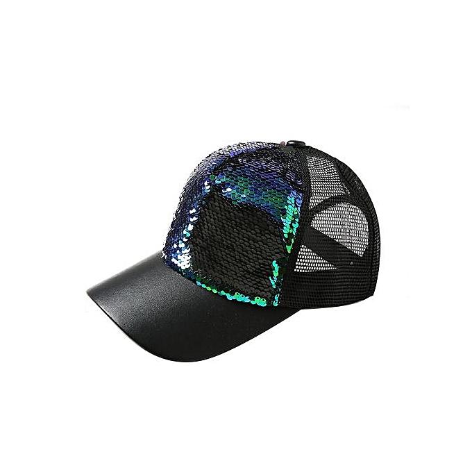 0b11ed3f41e573 Wenrenmok Store Mens Womens Double Color Sequins Baseball Cap Adjustable  Strapback Hats-Green