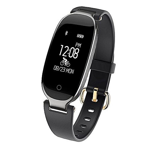 Bluetooth Waterproof S3 Smart Watch Fashion Women Ladies Montre Heart Rate  Smartwatch Relogio Inteligente For Android IOS Reloj(#Black)