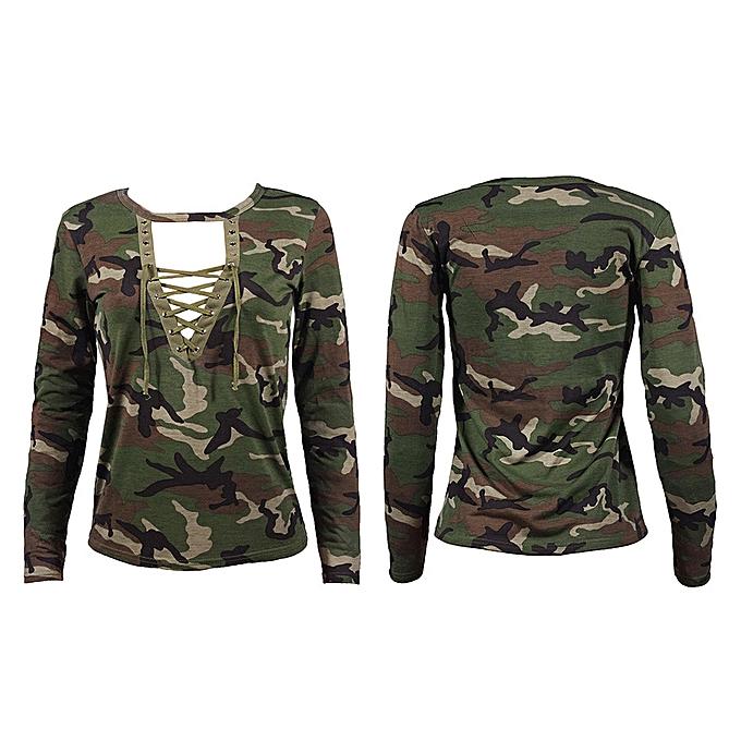 06d4a09881d07 Fashion Women Long Sleeve Shirt Slim Casual Blouse Camouflage Print Tops L