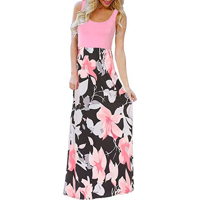 Bluetime Womens Summer Boho Sleeveless Floral Print Tank Long Maxi Dress