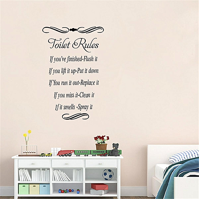 """... Home Decor 16.7"""" x 11.2"""" Toilet Rules Quote Wall Stickers Vinyl Decal Removable ..."""