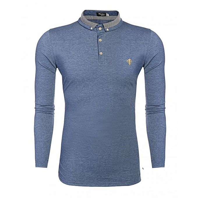 Long sleeve slim fit casual polo shirt blue jumia kenya for Long sleeve fitted polo shirts