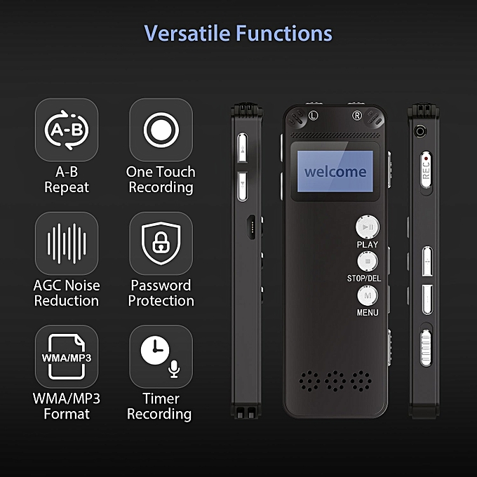 Voice Recorder 8GB Digital Audio Sound Recorder Dictaphone Digital Voice  Activated Recorder with MP3 Player Dual Microphone