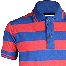 Red and Blue Striped Mens Pure Cotton Polo T-Shirts