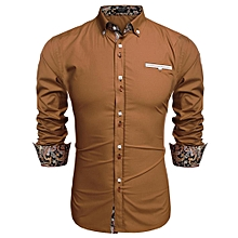 Men Long Sleeve Turn Down Neck Front Pocket Loose Tops Casual Dress Cotton Button Down Shirts-Brown