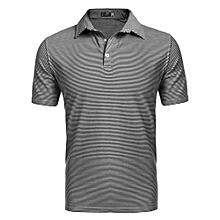 Men Casual Short Sleeve Stand Collar Striped Polo Shirt ( Black )