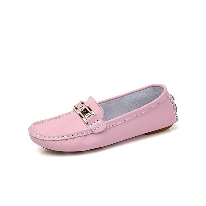 3d190c9557d Women s Casual Loafers Genuine Leather Driving Moccasins Slip-On Flat Shoes- pink