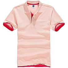 Men's Polo Shirt With Contrast Hem (Pink)