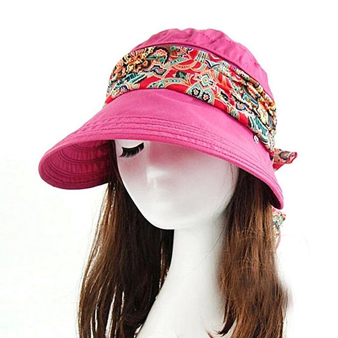 6d0ea927f Wenrenmok Store Summer Sun Multi-purpose Folding Sun Hat Empty Top Hat UV  Cap Hot Pink- Hot Pink