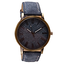 fashion Africashop Watch  Retro Vogue WristWatch Cowboy Leather Band Analog Quartz Watch- Navy