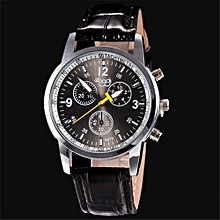 Blicool Wrist Watch Luxury Fashion Crocodile Faux Leather Mens Analog Watch Wrist Watches BK-black