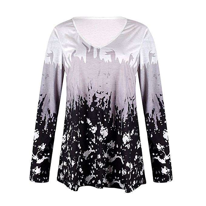 e22b783238ee Women Casual Long Sleeved V-Neck Printed Tops Casual Loose T-Shirt Blouse -