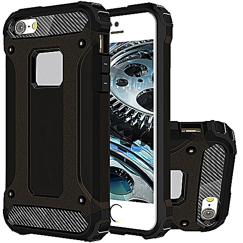 online store 88e4d 0ca88 iPhone SE Case, Hybrid [Full Body] [Heavy Duty] Armor Case Dual Layer Shock  Absorbing TPU Protective Case Cover for iPhone SE / 5S / 5 Black