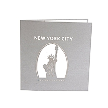 Greeting Card Three-dimensional 3D Paper-cut New York City Souvenirs grey