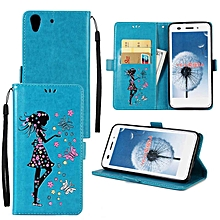 Premium Embossed Butterfly Girl PU Leather Wallet Folio Flip Cases with Detachable Wrist Strap Card Slots Kickstand Function Cover Case for Huawei Honor 5A  XYX-S