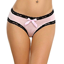 HIMISS Women's Bikini Open Crotch Lace Trim Underwear Sexy Midnight Bow-Tie Panties Lingerie Color:Pink Size:S