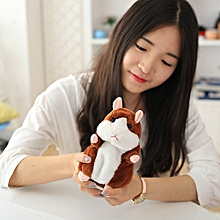 2017 Talking Hamster Pet Plush Toy Cute Sound Record Hamster Educational Toy -15CM light brown Speak and nod - Brown