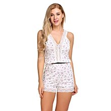 Women Spaghetti Strap Sleeveless Lace Trim Nighties Sleepwear Romper ( Floral )