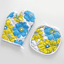 2PCS/SET Christmas Microwave Oven Mitts Heat Insulated Pad Glove Mat Xmas Kicthen Dining Bakeware F914