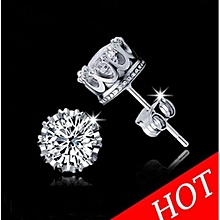 Fashion Crown Earrings Women Men Sterling Silver Crystal Jewerly Double Stud Earing(Sliver)