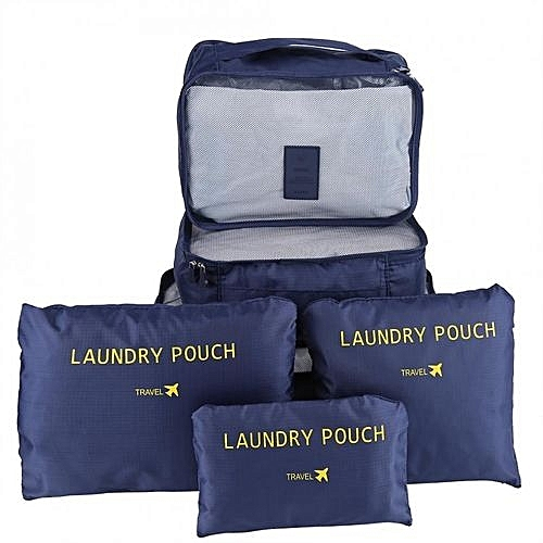 Generic FADIXI 6Pcs Waterproof Travel Clothes Storage Bags Luggage  Organizer Pouch Packing Navy 768c0c8f96d99