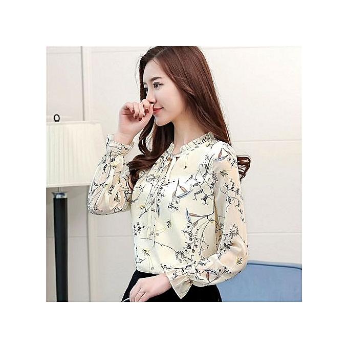 23e95aa1134a3 Spring & Summer Korean Fashion Long-sleeved Loose Thin Printed Chiffon  Women Shirt Floral Sweet