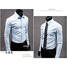 Jeansian Mens Dress Casual Shirt Slim Business Uniform-lightblue