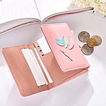 bluerdream-Women Leather Small Mini Wallet?Holder Multi-functional Leaves Solid Wallet- Pink
