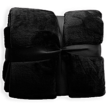 Black Plain Fleece Blanket Throw #160x220cm