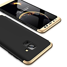 GKK for Galaxy A8+ (2018) Three Stage Splicing 360 Degree Full Coverage PC Protective Case Back Cover (Black+Gold)